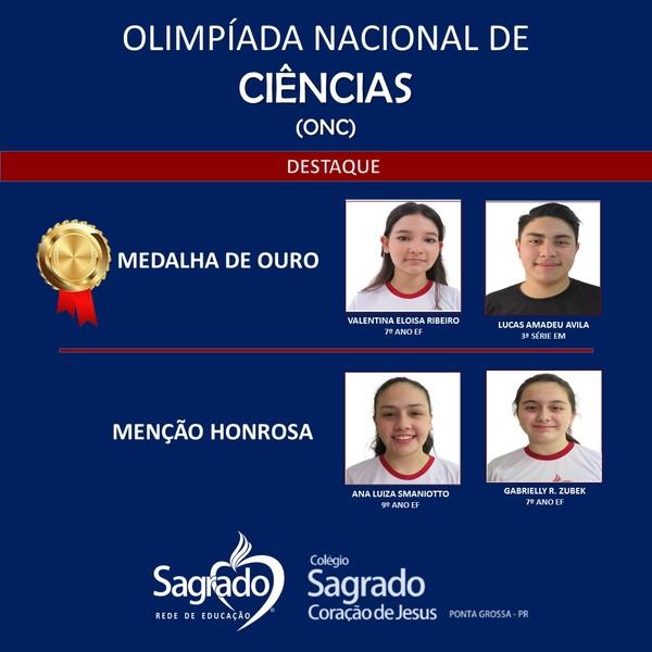 Educandos do SAGRADO PG são destaque na Olimpíada Nacional de Ciências