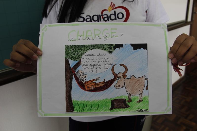 Educandos do 7º ano criam charge para retratar os impactos ambientais causados pela agricultura e pecuária