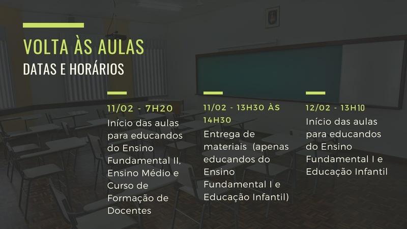 Volta às aulas 2019: datas e horários