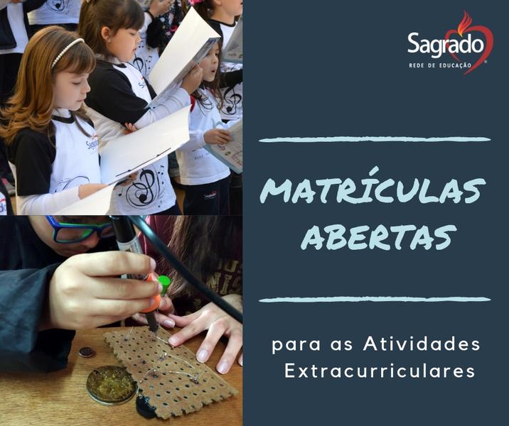 Pais ainda podem efetuar matrículas para Atividades Extracurriculares no Colégio Sagrado, em Curitiba