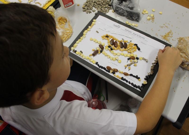 Arte rupestre com sementes