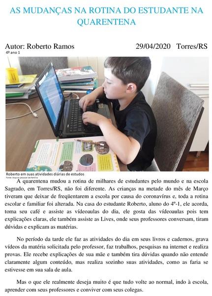 Quarentena e a educação domiciliar viram notícia para os 4ºs anos da Unidade Educacional São Domingos