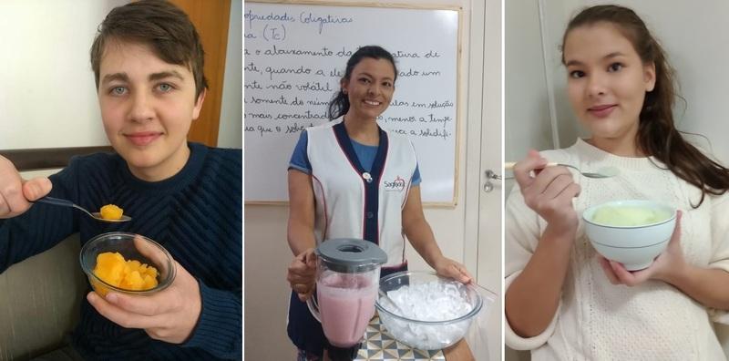 SAGRADO EM CASA: 2ªs séries do Ensino Médio exploram os estudos sobre Crioscopia por meio da produção de um sorvete em dez minutos