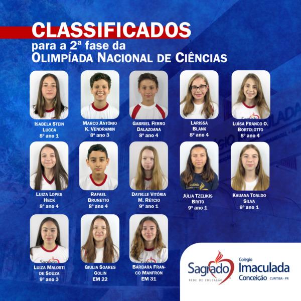 Educandos do Colégio Imaculada são classificados para a 2ª Fase da Olimpíada Nacional de Ciências 2020