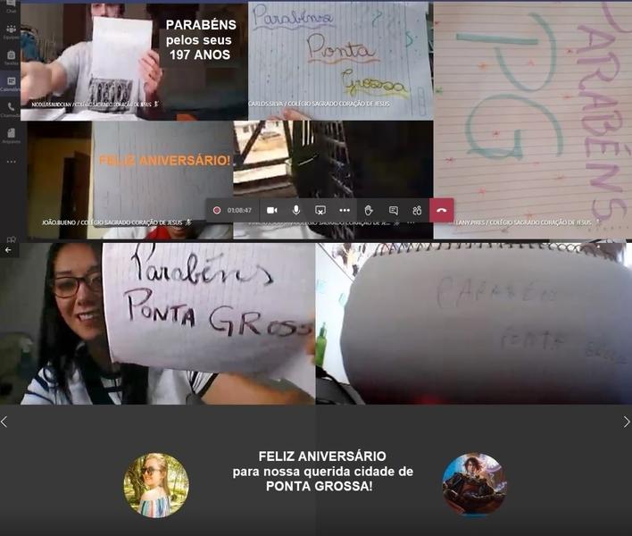 SAGRADO EM CASA: educandos da 2ª série do EM homenageiam a cidade de Ponta Grossa durante Live de Matemática