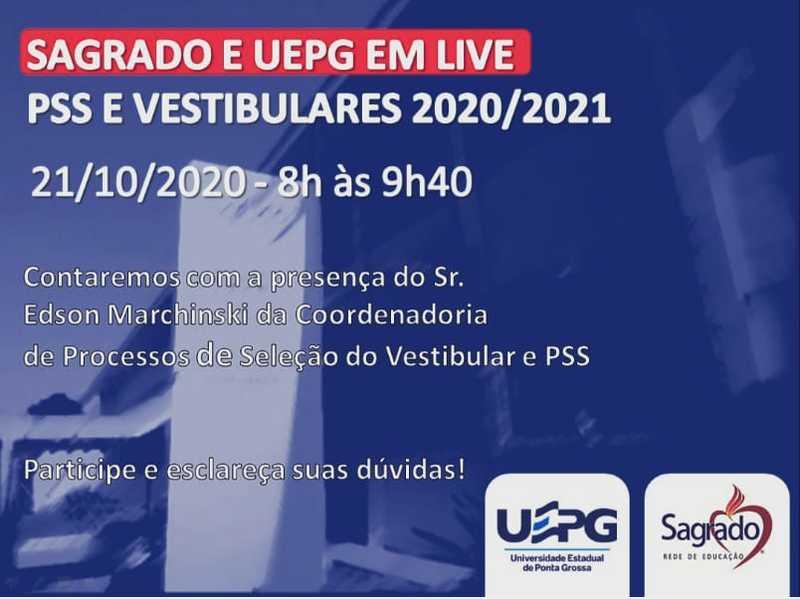 SAGRADO + UEPG: Live de Orientação Profissional acontece amanhã para o Ensino Médio