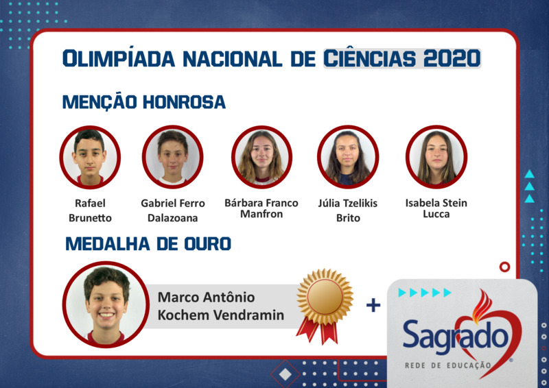 Educandos do Colégio Imaculada Conceição recebem medalha de ouro e menção honrosa na ONC 2020