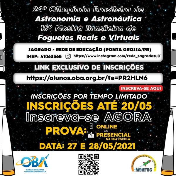 SAGRADO PG convida seus educandos a participarem da 24ª Olimpíada Brasileira de Astronomia e Astronáutica