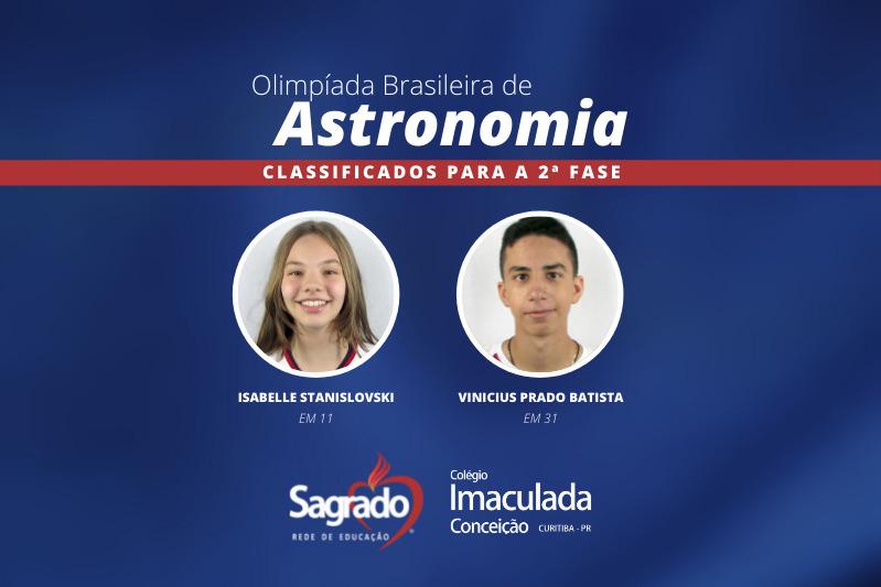 Educandos do Colégio Imaculada são classificados para a segunda fase da Olimpíada Brasileira de Astronomia e Astronáutica