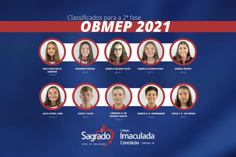 Educandos do Colégio Imaculada Conceição são classificados para a segunda fase da OBMEP 2021